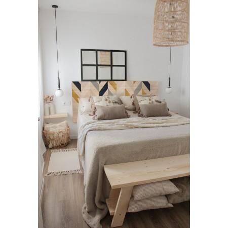 Tête de lit naturel 'Geometric Zig-Zag'