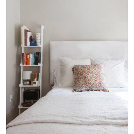 Tête de lit simili cuir boutons blanc