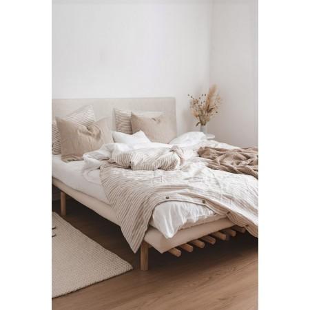 Tête de lit tapissée Hoola boutons beige