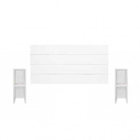 Pack tête de lit et tables horizontales Lina blanc