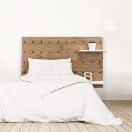 Tête de lit individuelle en bois effet vieilli panneau d'accessoires