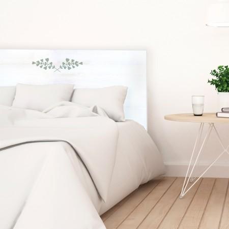 Tête de lit décapée feuilles vertes