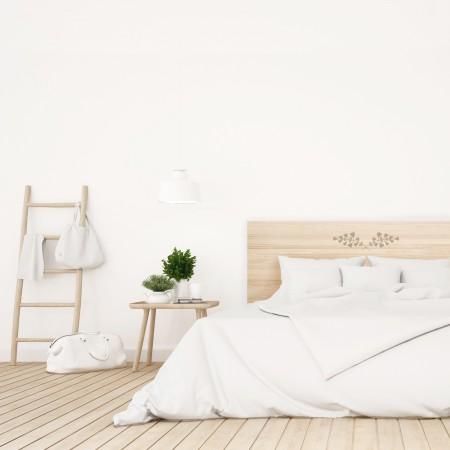 Tête de lit en bois naturel feuilles beige