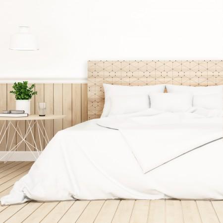 Tête de lit en bois naturel points et lignes