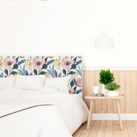 Tête de lit en bois décapé florale moderne