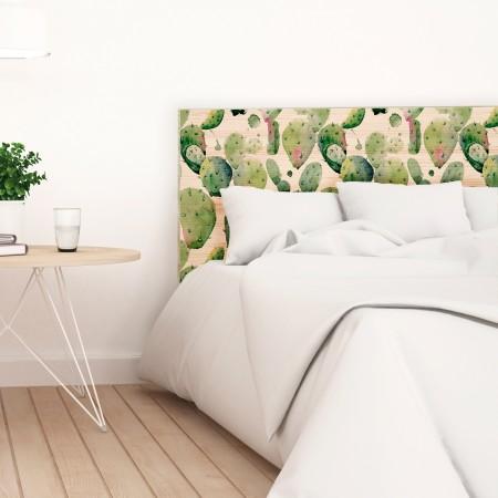 Tête de lit en bois naturel cactus