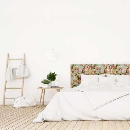 Tête de lit en bois naturel fleurs cactus