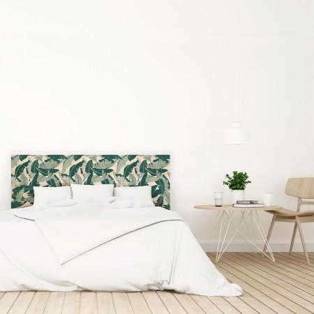 Tête de lit en bois naturel feuilles tropicales