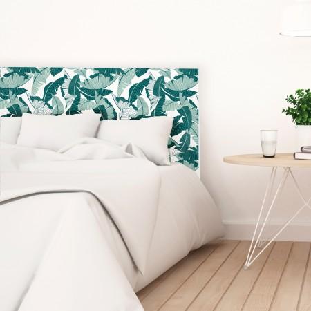 Tête de lit en bois décapé feuilles tropicales