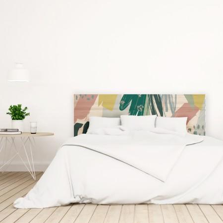 Tête de lit en bois naturel botanique abstrait