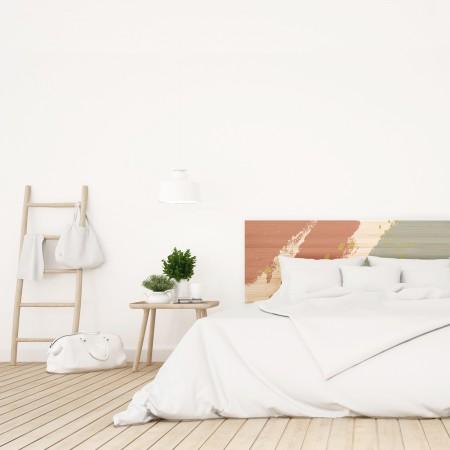 Tête de lit en bois naturel coups de pinceau