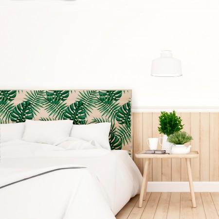 Tête de lit en bois naturel monstera