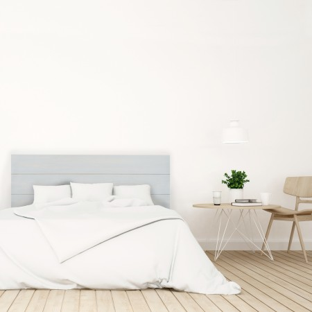 Tête de lit en bois décapé bleu-vert