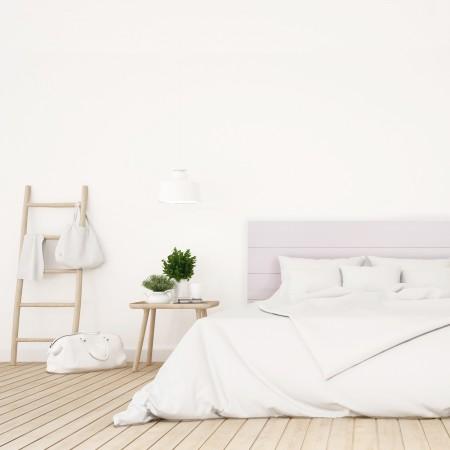 Tête de lit en bois décapé rose pastel