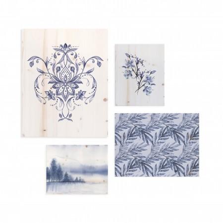 Pack de tableaux avec motifs romantiques bleu