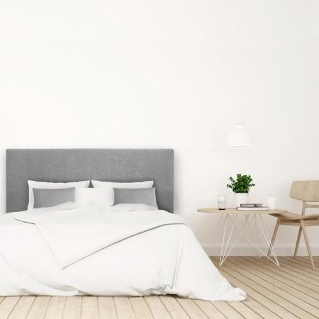 Pack tête de lit tapissée lisse gris