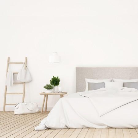 Pack tête de lit tapissée lisse beige