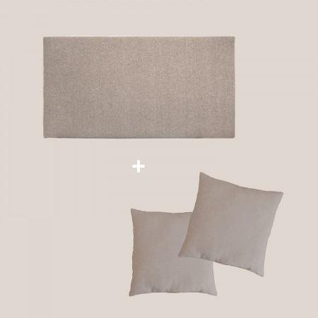 Pack tête de lit tapissée lisse marron