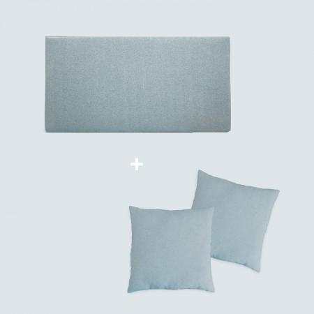 Pack tête de lit tapissée lisse bleu-vert