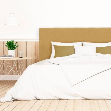 Pack tête de lit tapissée lisse moutarde