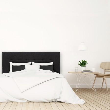 Pack tête de lit tapissée plis noir