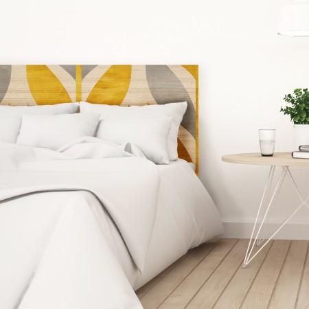 Tête de lit naturel 'Blé géométrique jaune'