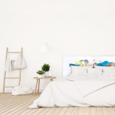 Tête de lit décapage 'Aquarelle couleurs du monde'