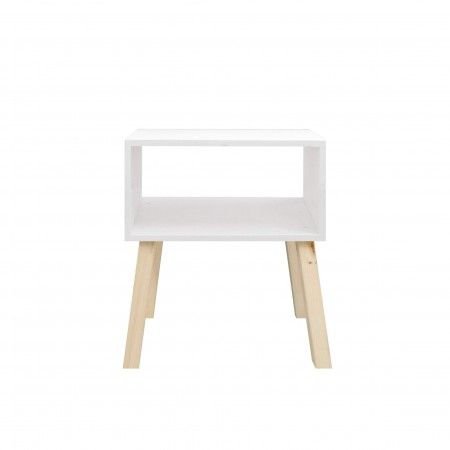 Table de chevet rectangulaire peinte en blanc