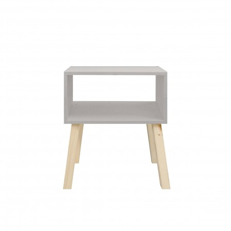 Table de chevet rectangulaire peinte en gris clair