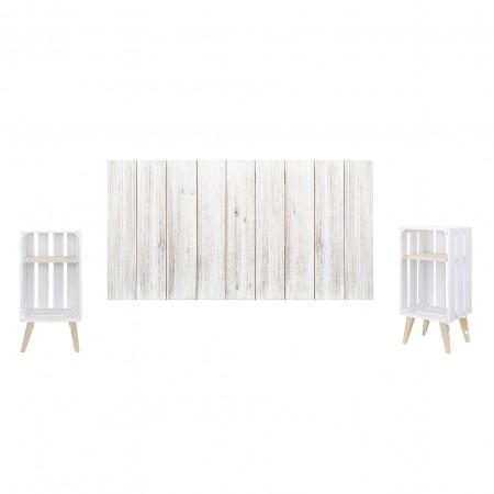 Pack vintage blanc avec tables de chevet blanches