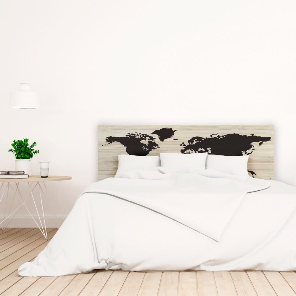 t te de lit en bois naturel carte du monde vente de. Black Bedroom Furniture Sets. Home Design Ideas