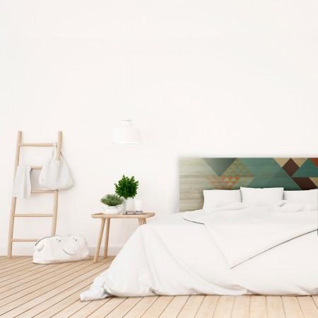 Tête de lit en bois naturel géométrique bleu