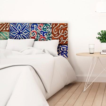 Tête de lit en bois naturel carrelage céramique