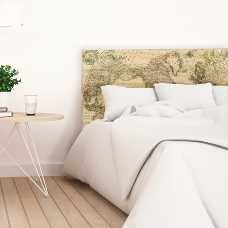 Tête de lit en bois naturel carte du monde vieux