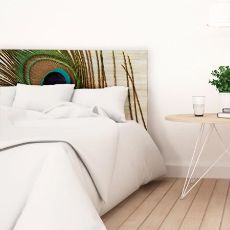 Tête de lit en bois naturel plume