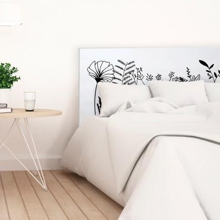 t te de lit blanche avec imprim florale vente de toutes sortes de t tes de lit online. Black Bedroom Furniture Sets. Home Design Ideas