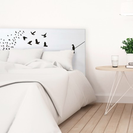t te de lit blanche avec oiseaux imprim vente de toutes. Black Bedroom Furniture Sets. Home Design Ideas