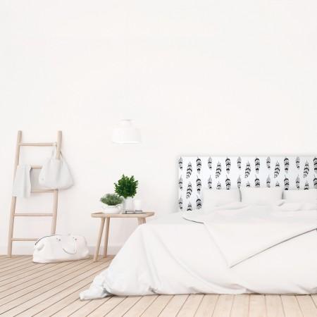 t te de lit blanche avec plumes imprim vente de toutes sortes de t tes de lits online. Black Bedroom Furniture Sets. Home Design Ideas