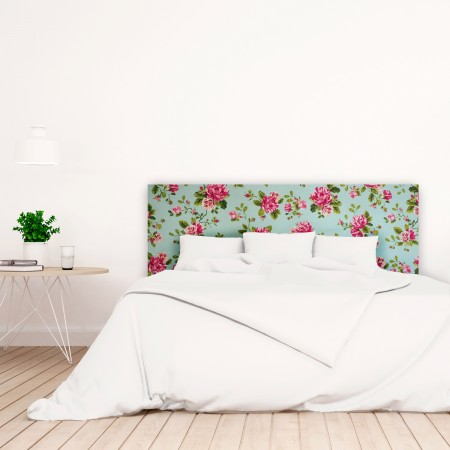 t te de lit blanche avec roses imprim vente de toutes sortes de t tes de lit online. Black Bedroom Furniture Sets. Home Design Ideas