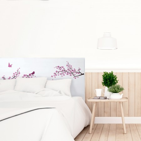 t te de lit blanche avec fleurs japonaises imprim vente. Black Bedroom Furniture Sets. Home Design Ideas