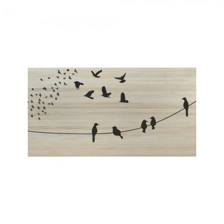 Cabecero blanco pájaros