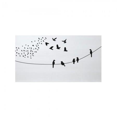 Tête de lit blanche oiseaux