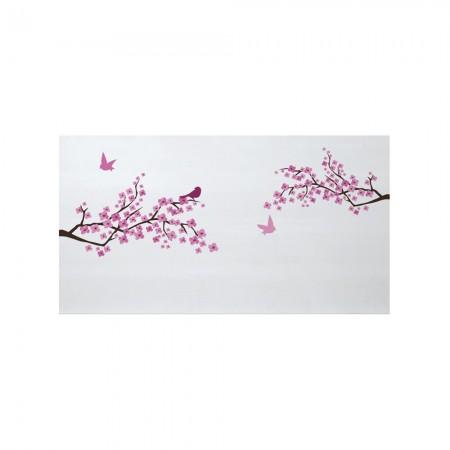 Cabecero blanco estampado flores japonesas