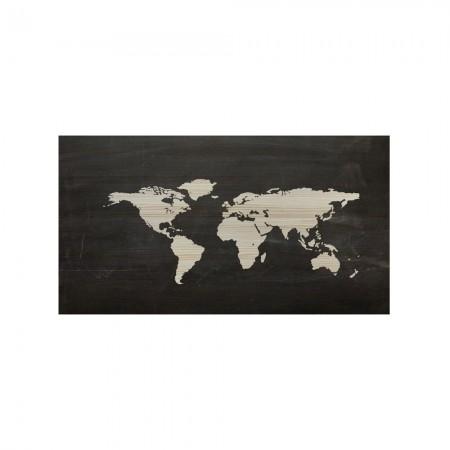 Tête de lit en bois naturel carte du monde ardoise