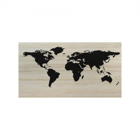 Tête de lit en bois naturel carte du monde