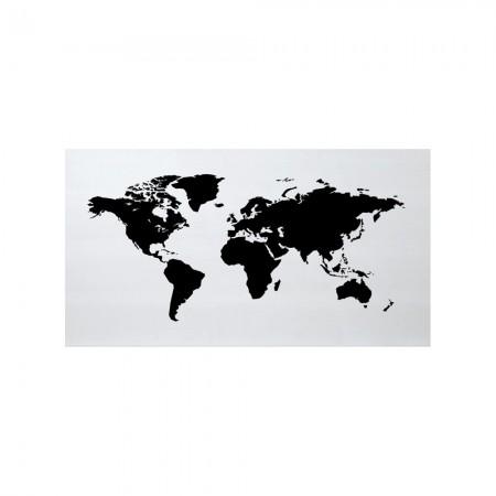 Tête de lit blanche carte du monde