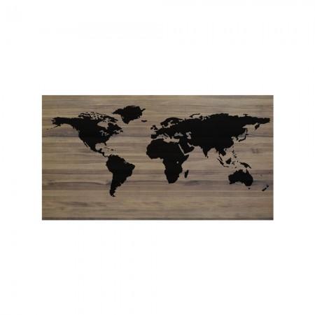 Tête de lit effet vielli carte du monde