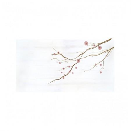 Tête de lit décapée fleurs japonaises