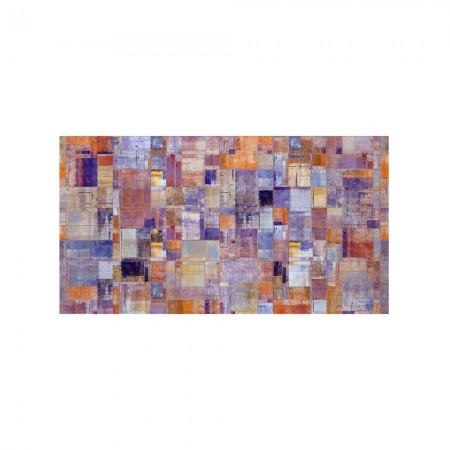 Tête de lit blanche décapée peinture abstraite