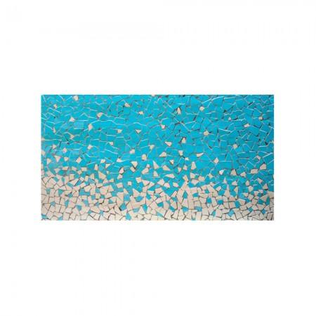 Cabecero blanco estampado mosaico azul